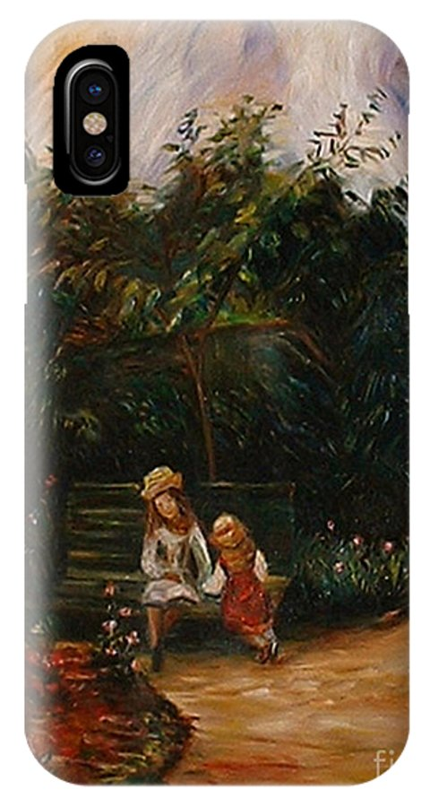 Classic Art IPhone Case featuring the painting A Corner Of The Garden At The Hermitage by Silvana Abel