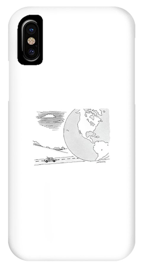 Caption Contest Tk. Earth IPhone X Case featuring the drawing A Couple Drives Towards A Giant Earth by Mick Stevens