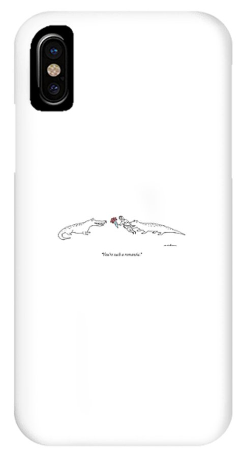 Flowers IPhone X Case featuring the drawing A Crocodile To Another Crocodile With A Person by Michael Maslin