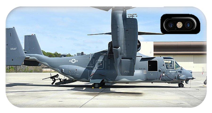 Horizontal IPhone X Case featuring the photograph A Cv-22b Osprey On The Ramp At Hurlburt by Riccardo Niccoli