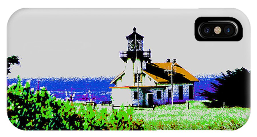 Light House IPhone X Case featuring the digital art A Distant Light House by Joseph Coulombe