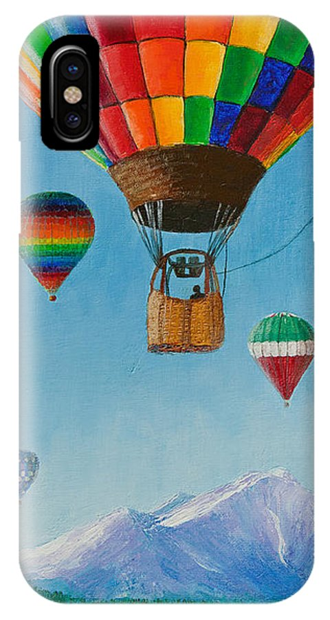 Hot Air Balloon IPhone X Case featuring the painting A Dream Come True by Margaret Bobb