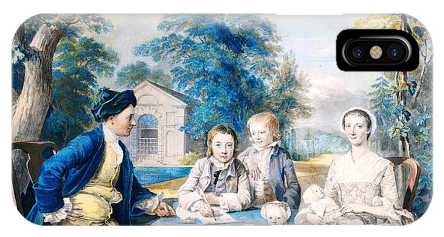 A Family Group In A Garden IPhone X / XS Case featuring the painting A Family Group In A Garden by Celestial Images