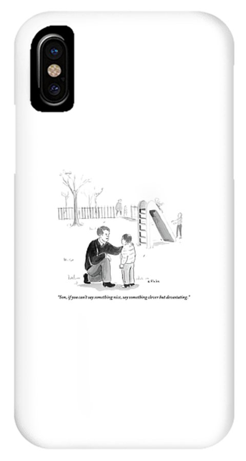 Advice IPhone X Case featuring the drawing A Father Encourages His Son At The Playground by Emily Flake