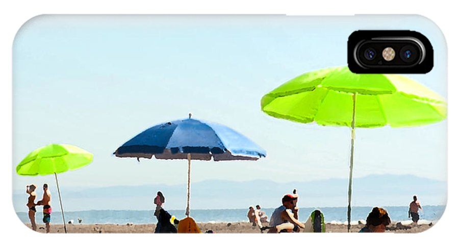 Beach Umbrellas IPhone X Case featuring the painting A Fine Day At The Beach by Artist and Photographer Laura Wrede