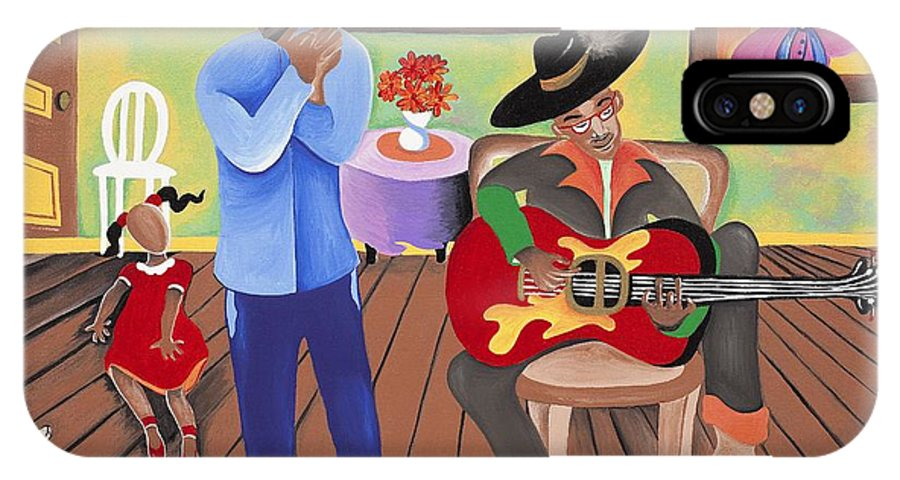 Sabree IPhone X Case featuring the painting A Funky Kind-a-party by Patricia Sabree