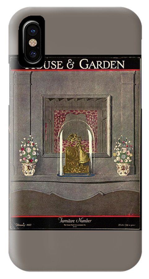 House And Garden IPhone X Case featuring the photograph A Gilded Mantle Clock In A Bell Jar by Andre E. Marty