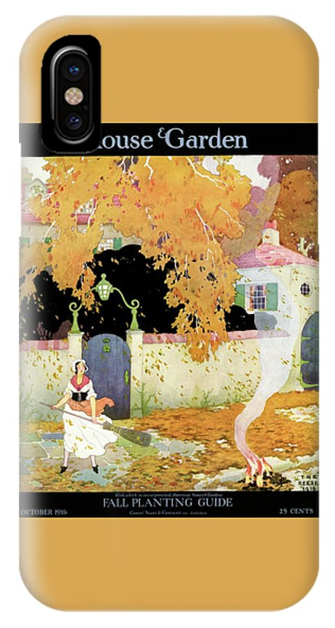 House And Garden IPhone X Case featuring the photograph A Girl Sweeping Leaves by The Reeses