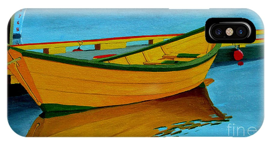 Grand Banks IPhone X Case featuring the painting A Grand Banks Dory by Anthony Dunphy