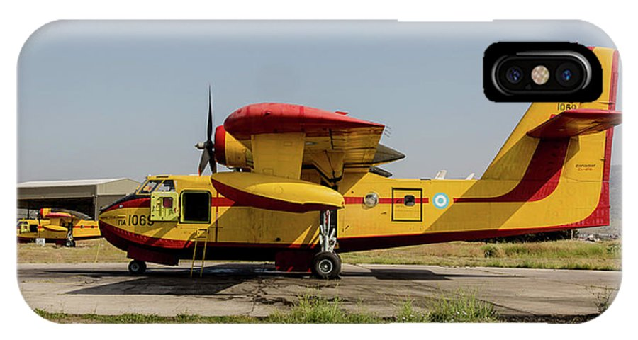 Greece IPhone X Case featuring the photograph A Hellenic Air Force Canadair Cl-215 by Timm Ziegenthaler