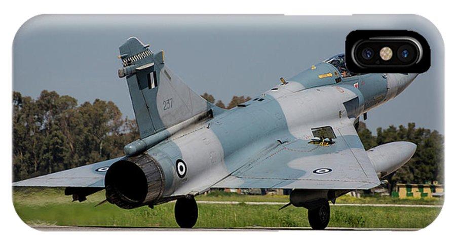 Greece IPhone X Case featuring the photograph A Hellenic Air Force Mirage 2000 Egm by Timm Ziegenthaler
