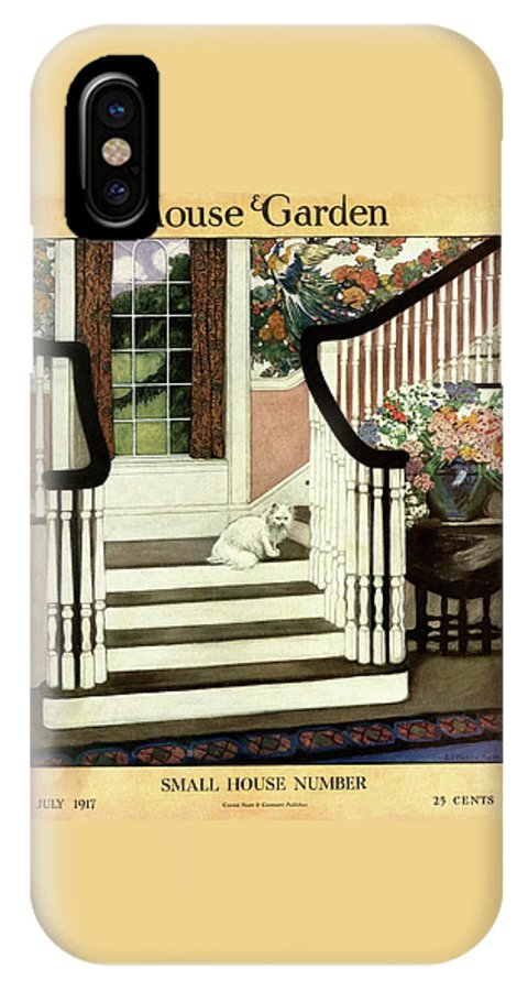 Animal IPhone X Case featuring the photograph A House And Garden Cover Of A Cat On A Staircase by Ethel Franklin Betts Baines