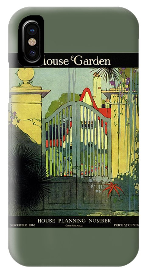 Illustration IPhone X Case featuring the photograph A House And Garden Cover Of A Gate by H. George Brandt