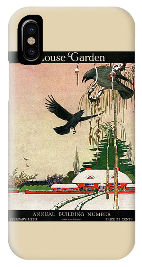 Illustration IPhone X Case featuring the photograph A House And Garden Cover Of Crows By A House by Charles Livingston Bull