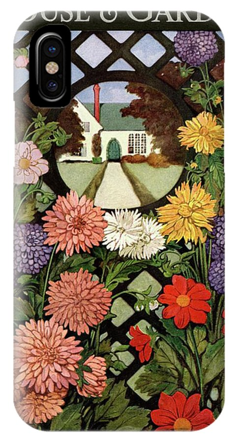 Illustration IPhone X Case featuring the photograph A House And Garden Cover Of Flowers by Ethel Franklin Betts Baines