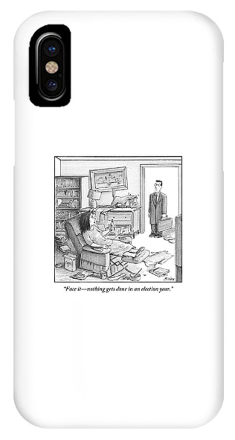 Politics IPhone X Case featuring the drawing A Husband Walks Into A Trashed Room by Harry Bliss