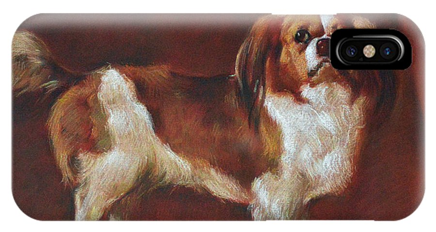 Pastel IPhone X Case featuring the pastel A King Charles Spaniel by Iliyan Bozhanov