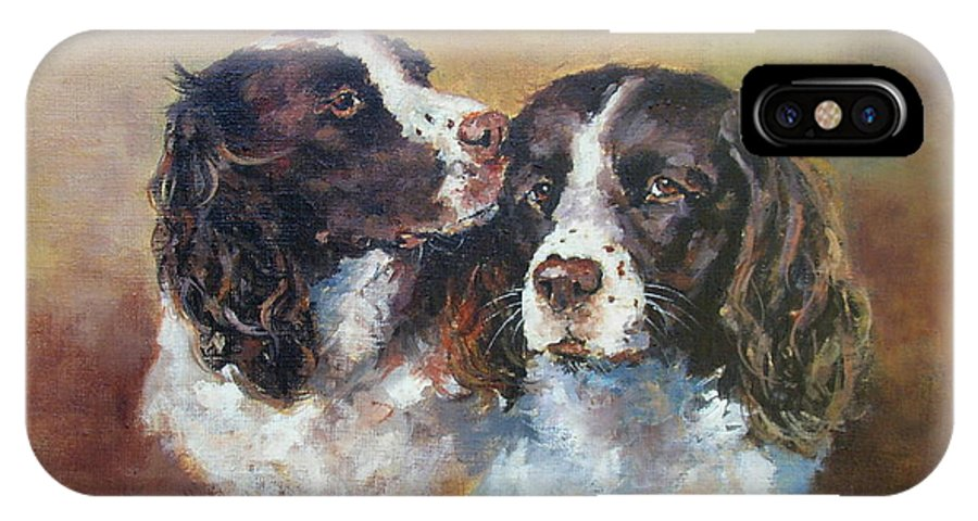 Two Springer Spaniels. IPhone X Case featuring the painting A Kiss On The Cheek by Jacinta Crowley-Long