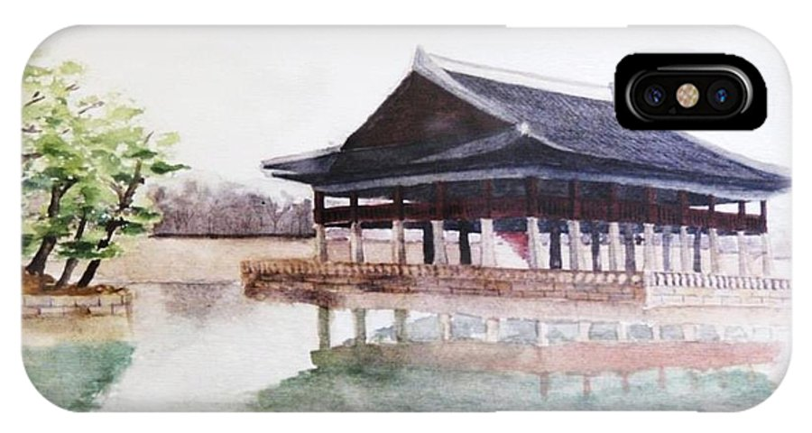 Landscape IPhone X Case featuring the painting A Korean Traditional Building by Dael Um
