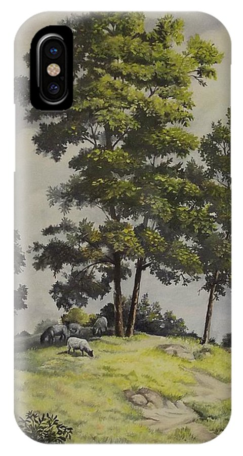 Landscape IPhone Case featuring the painting A Lazy Day For Grazing by Wanda Dansereau
