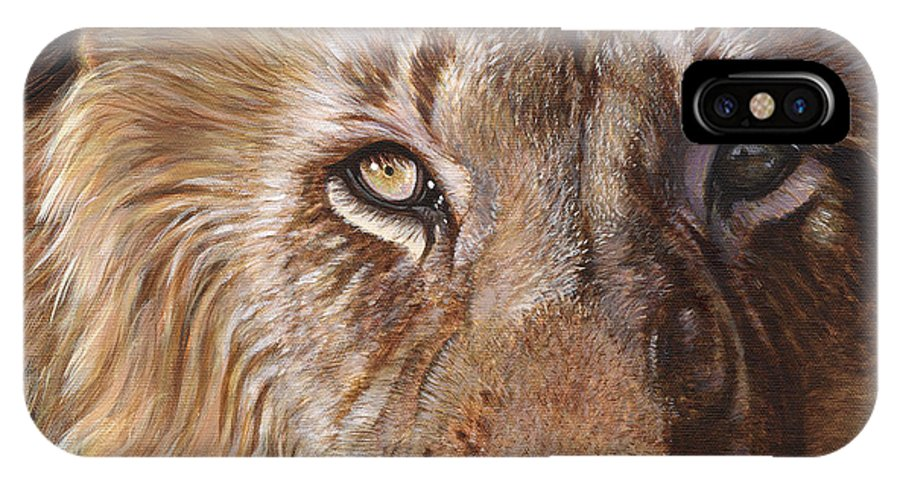 Lion Face Eyes Brown Big Cat Feline Animal Wildlife IPhone X Case featuring the painting A Lion Face by Akiko Watanabe