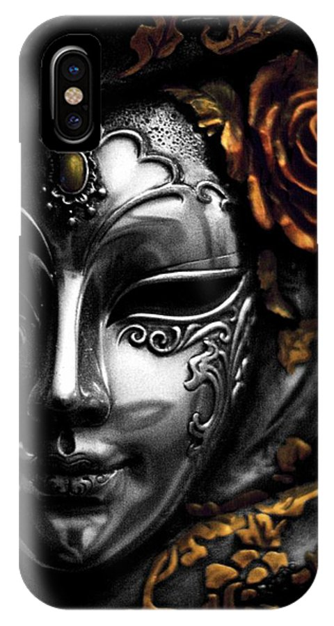 Mardis Gras Mask IPhone X Case featuring the photograph A Touch Of Color by Stephanie Hollingsworth