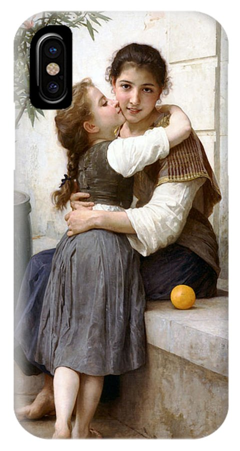 A Little Coaxing IPhone X Case featuring the digital art A Little Coaxing by William Bouguereau