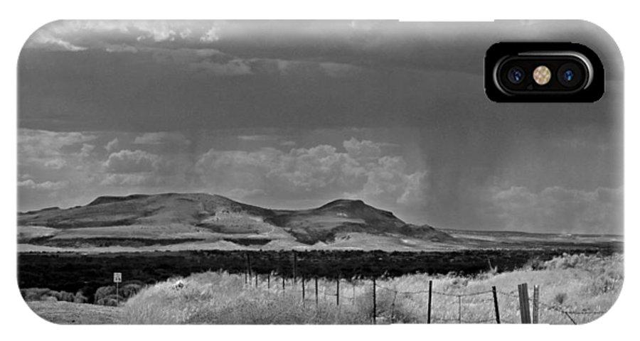 B&w IPhone X Case featuring the photograph A Little Rain by Don Durante Jr