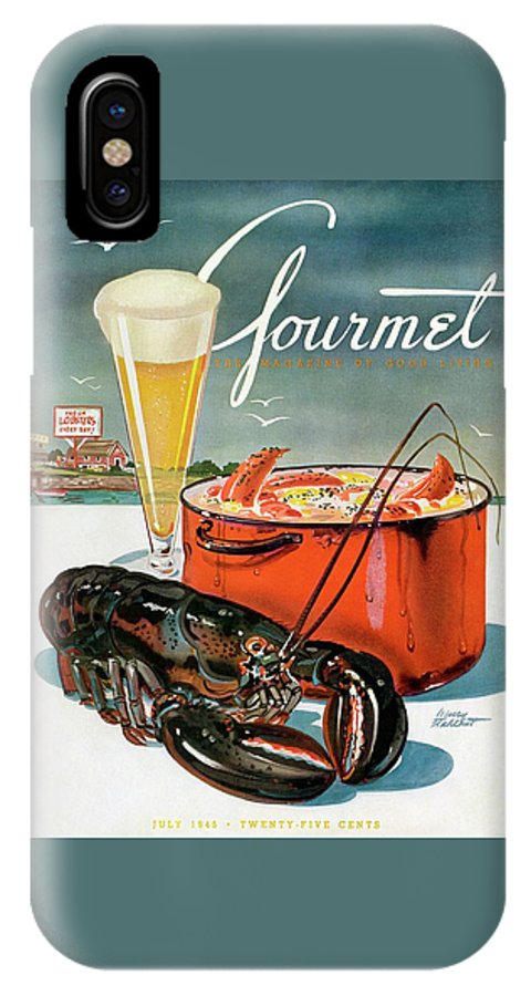 Illustration IPhone X Case featuring the photograph A Lobster And A Lobster Pot With Beer by Henry Stahlhut