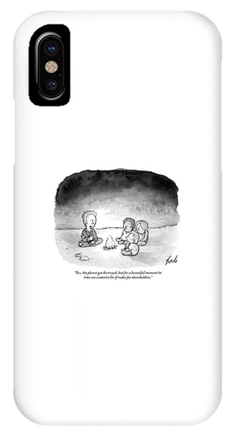 Yes IPhone X Case featuring the drawing A Man And 3 Children Sit Around A Fire by Tom Toro