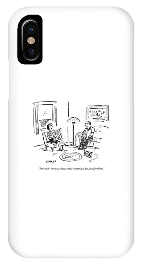 Flip IPhone X Case featuring the drawing A Man And A Woman Talk In Their Living Room by David Sipress