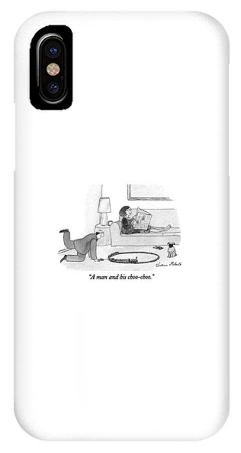Jan. 3 IPhone X Case featuring the drawing A Man And His Choo-choo by Victoria Roberts