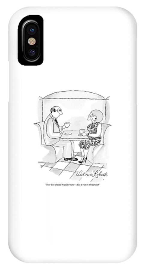 Date IPhone X Case featuring the drawing A Man And Woman Are Having Coffee Together by Victoria Roberts