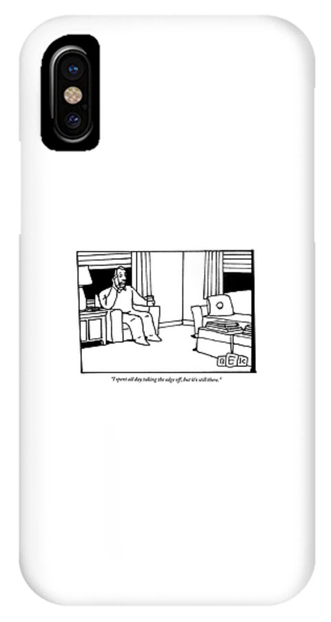 Drink IPhone X Case featuring the drawing A Man, Holding A Glass Of Wine, Sitting In An by Bruce Eric Kaplan