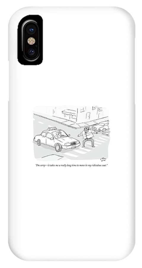 Winter IPhone X Case featuring the drawing A Man In A Puffy Winter Coat Walks Awkwardly by Farley Katz