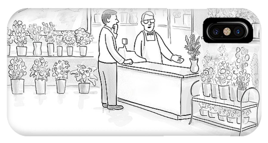 Flower Shops IPhone X Case featuring the drawing A Man Speaks With An Assistant At A Flower Shop by Paul Noth