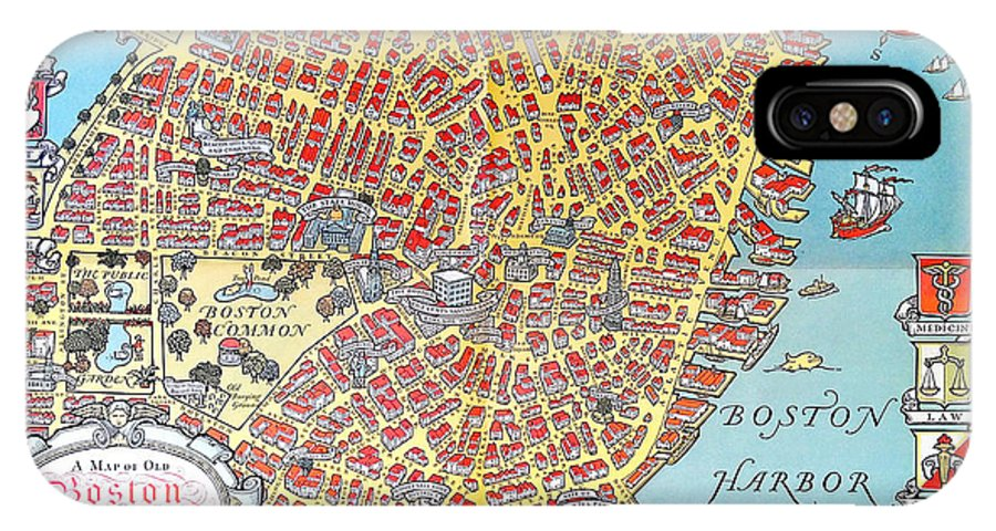 A Map Of Old Boston In The Commonwealth Of Massachusetts IPhone X / XS Case featuring the painting A Map Of Old Boston In The Commonwealth Of Massachusetts by Celestial Images