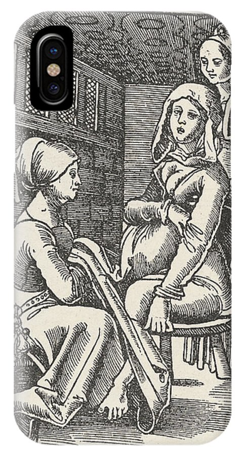 Childbirth IPhone X Case featuring the drawing A Midwife Discreetly Helps To Deliver by Mary Evans Picture Library