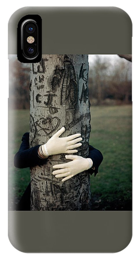 Fashion IPhone X Case featuring the photograph A Model Hugging A Tree by Frances Mclaughlin-Gill