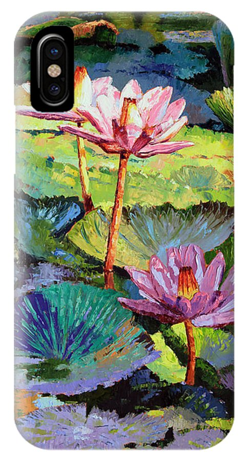 Water Lilies IPhone X Case featuring the painting A Moment In Sunlight by John Lautermilch