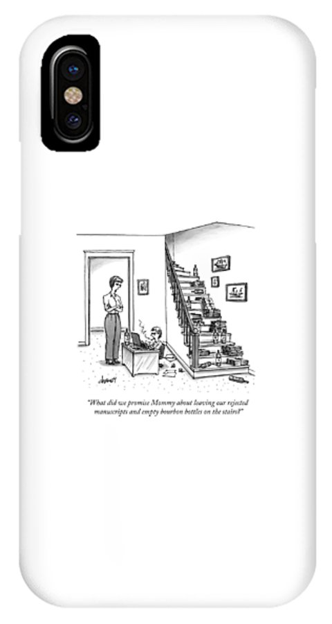 Writer IPhone X Case featuring the drawing A Mother Speaks To Her Son by Tom Cheney