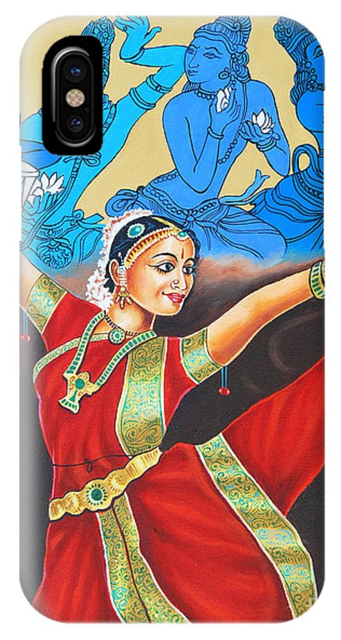 Bharathanatyam IPhone X Case featuring the painting A Mystic Communion With God by Ragunath Venkatraman