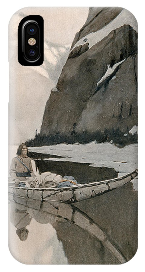 Racial IPhone X Case featuring the drawing A Native American Man In A Snowy by Mary Evans Picture Library
