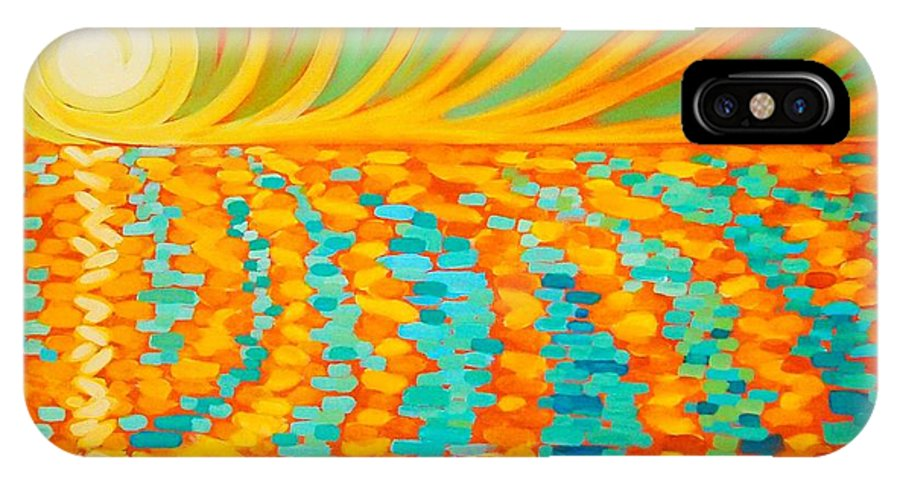 Sunrise IPhone X Case featuring the painting A New Day Is Dawning by Janet McDonald
