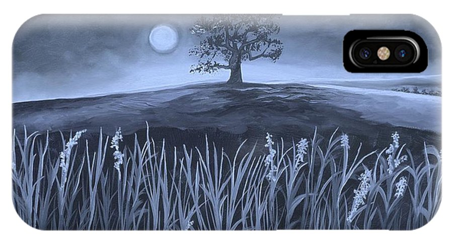 Plains IPhone X Case featuring the painting A Night At The Plains by Nereida Rodriguez