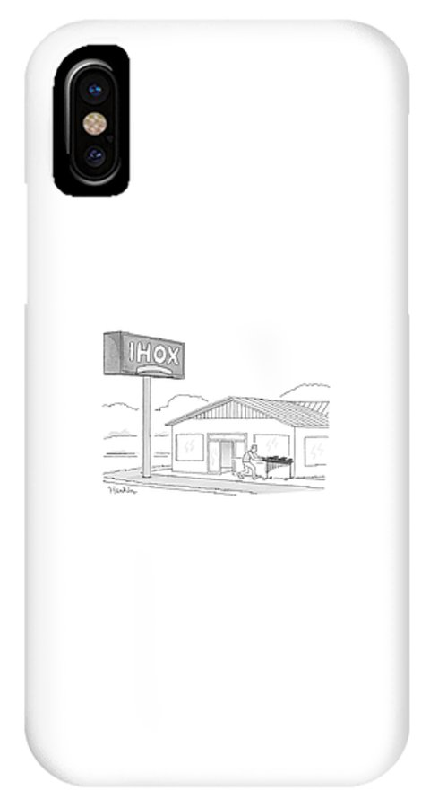 Ihox IPhone X Case featuring the drawing Ihox by Charlie Hankin