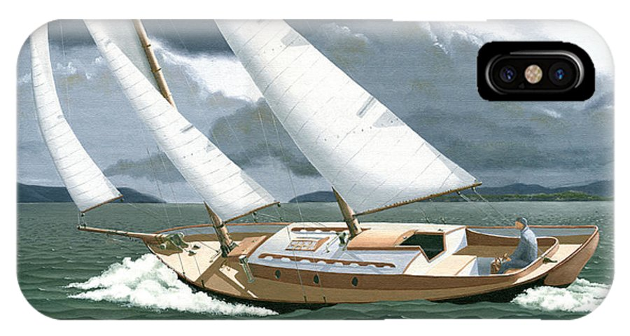 Gulf Islands IPhone X Case featuring the painting A Passing Squall by Gary Giacomelli