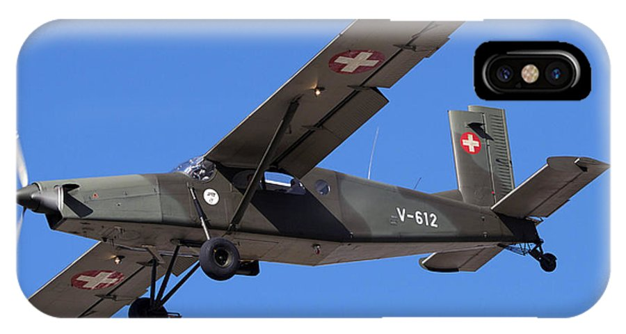 No People IPhone X Case featuring the photograph A Pilatus Pc-6 Of The Swiss Air Force by Luca Nicolotti