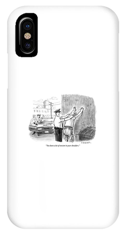Massage IPhone X Case featuring the drawing A Policeman Talks To A Man He Is Frisking Or by Pat Byrnes
