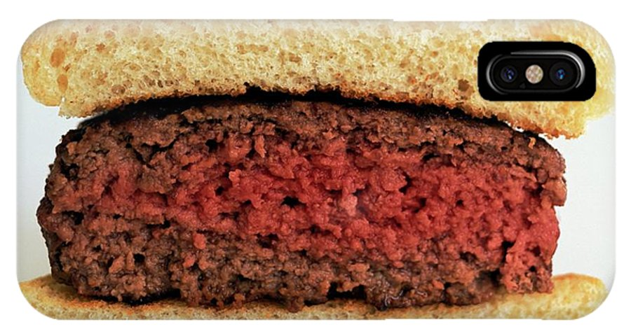 Cooking IPhone X Case featuring the photograph A Rare Hamburger by Romulo Yanes